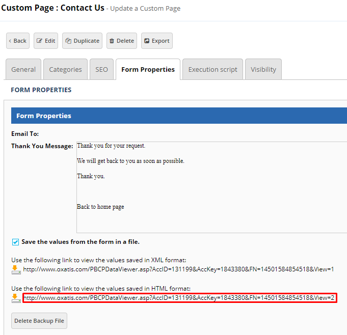Structured Custom Page - Web Forms